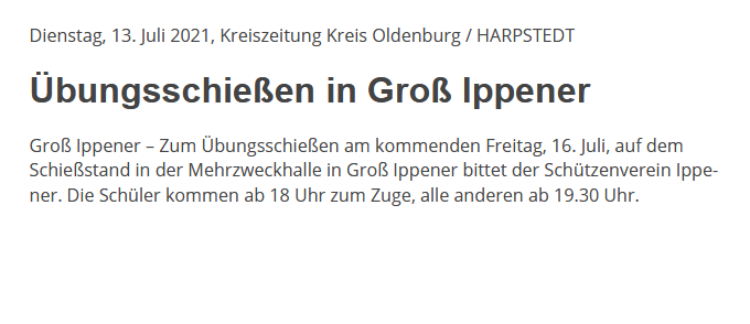 Bericht Kreiszeitung 13/07/2021